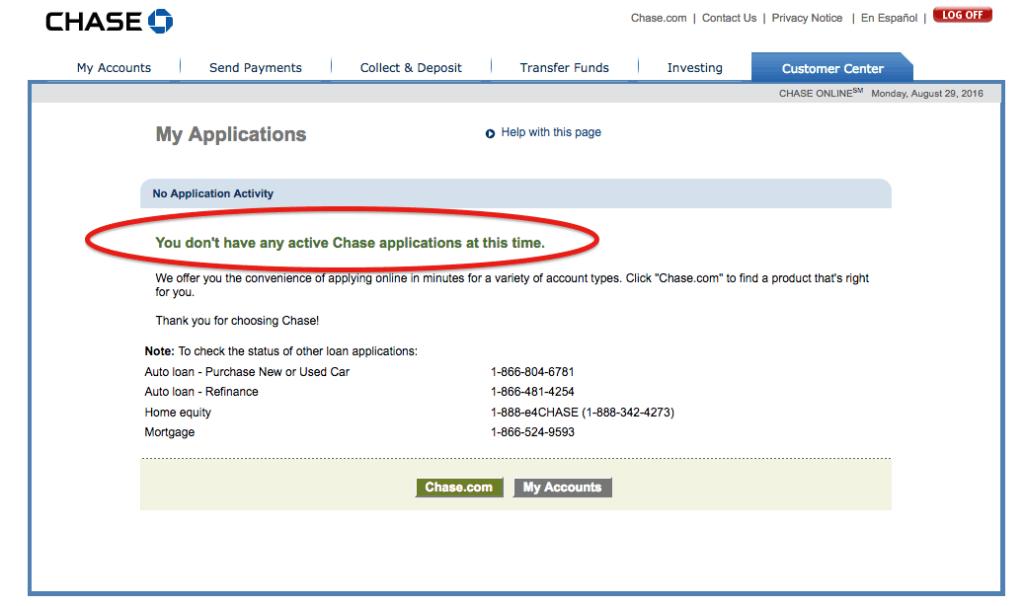 chase visa card application status